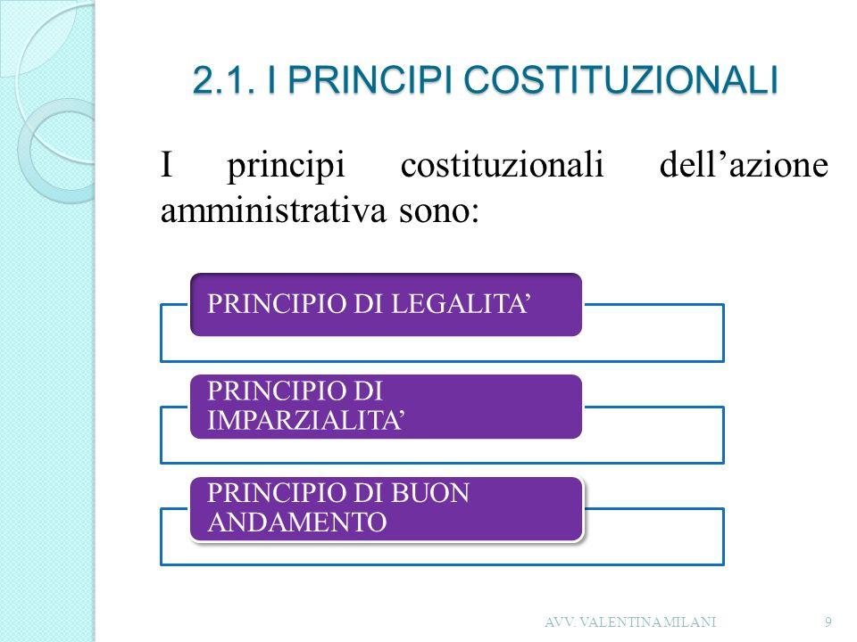 2.1. I PRINCIPI COSTITUZIONALI