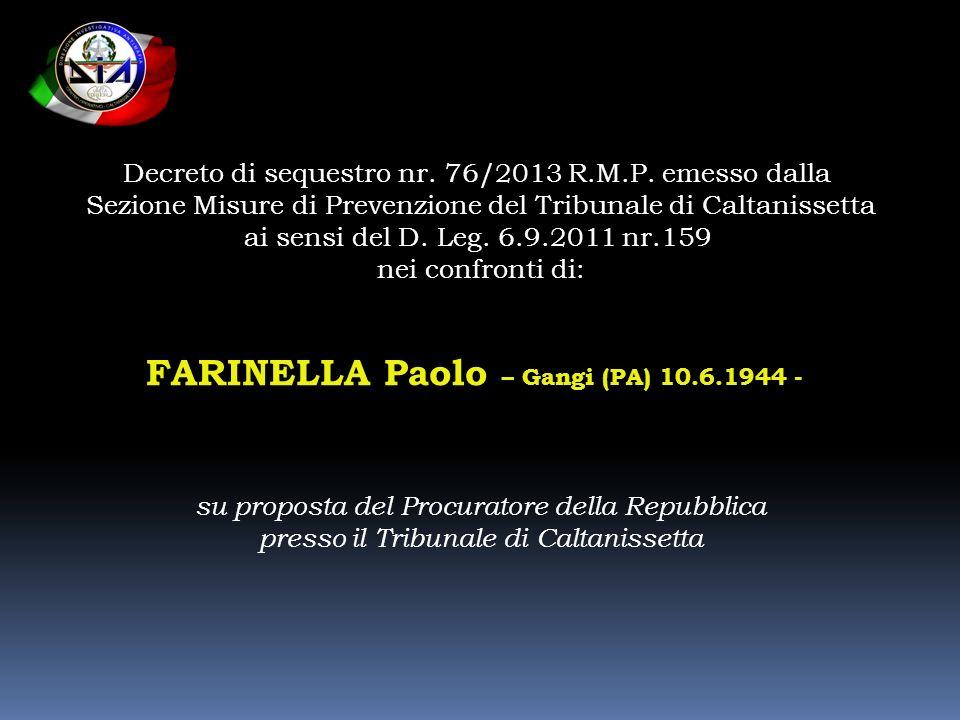 FARINELLA Paolo – Gangi (PA) 10.6.1944 -