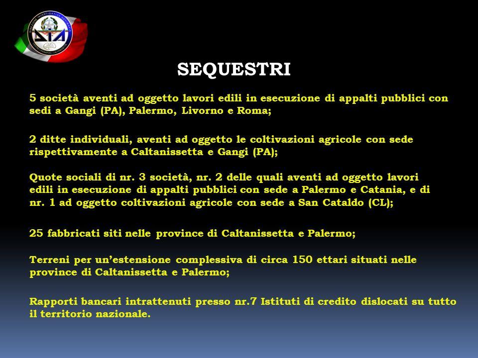 SEQUESTRI 5 società aventi ad oggetto lavori edili in esecuzione di appalti pubblici con sedi a Gangi (PA), Palermo, Livorno e Roma;