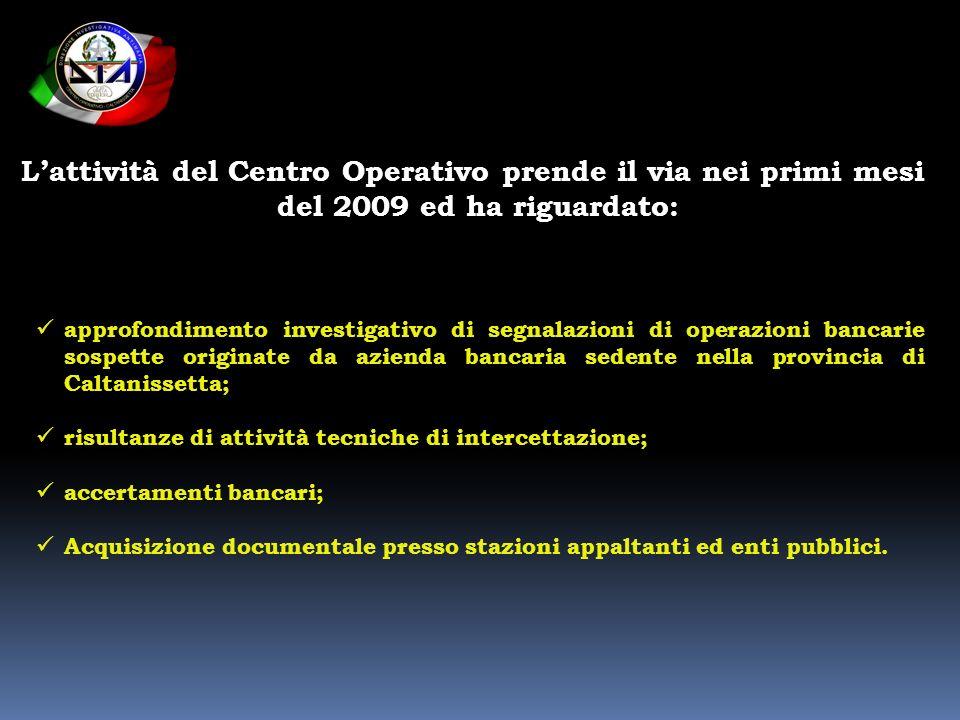 L'attività del Centro Operativo prende il via nei primi mesi