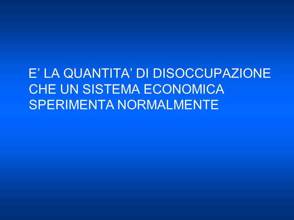 E' LA QUANTITA' DI DISOCCUPAZIONE CHE UN SISTEMA ECONOMICA SPERIMENTA NORMALMENTE