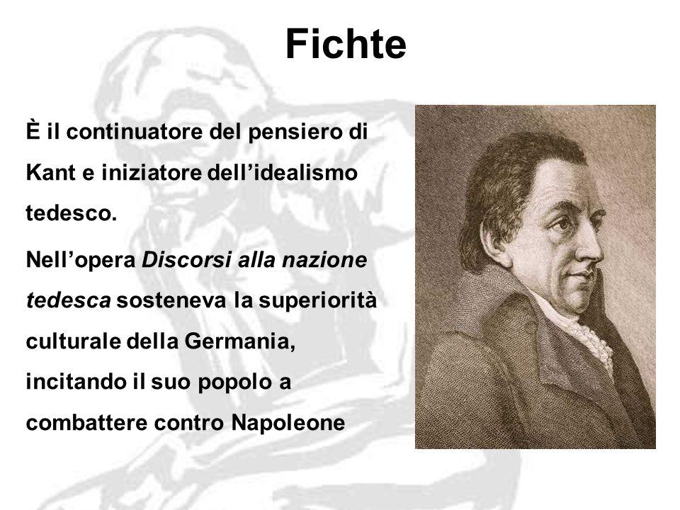 Fichte È il continuatore del pensiero di Kant e iniziatore dell'idealismo tedesco.