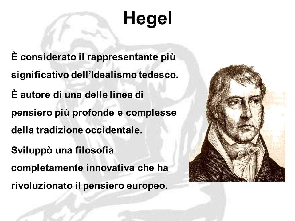Hegel È considerato il rappresentante più significativo dell'Idealismo tedesco.