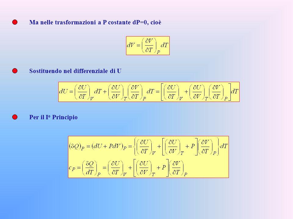 Ma nelle trasformazioni a P costante dP=0, cioè