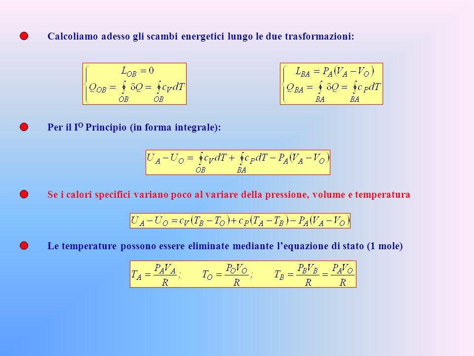 Calcoliamo adesso gli scambi energetici lungo le due trasformazioni: