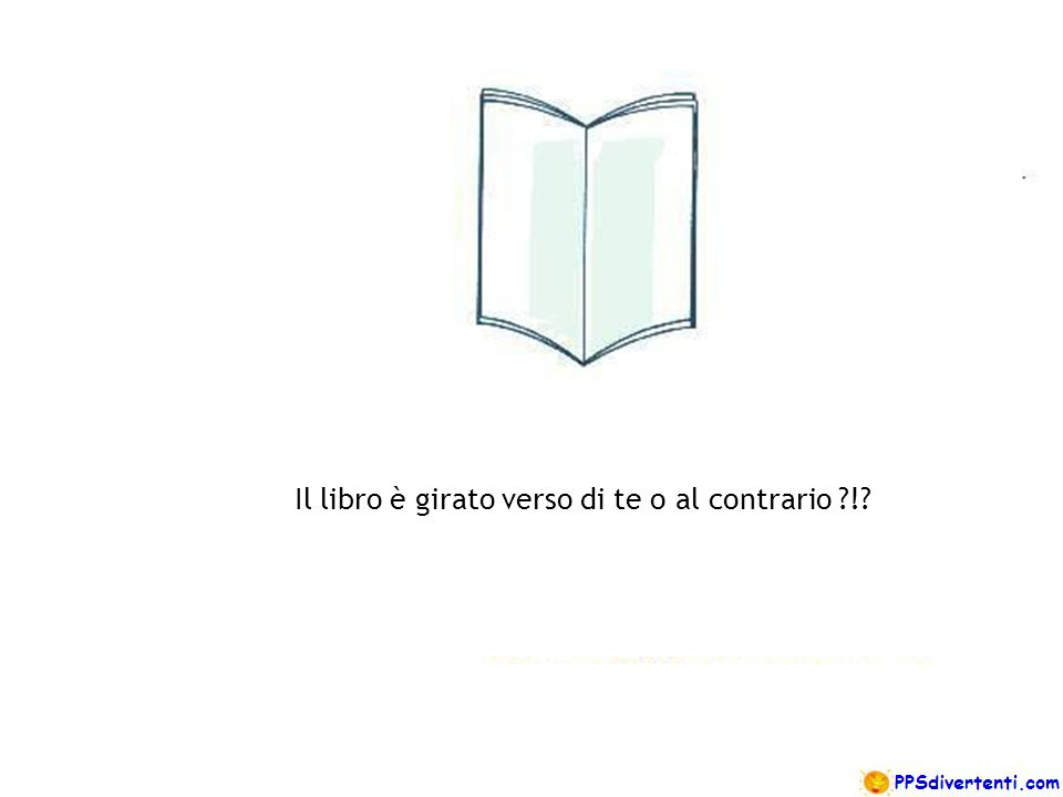 Il libro è girato verso di te o al contrario !