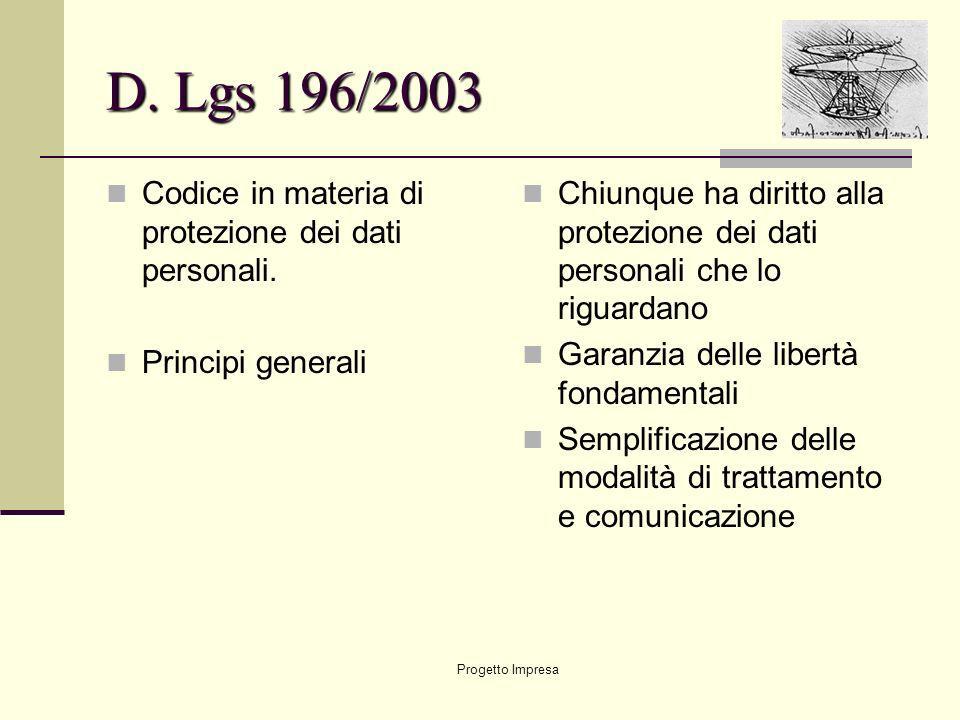 D. Lgs 196/2003 Codice in materia di protezione dei dati personali.