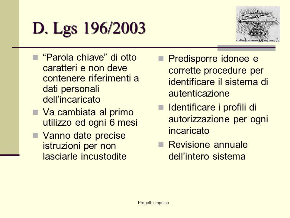 D. Lgs 196/2003 Parola chiave di otto caratteri e non deve contenere riferimenti a dati personali dell'incaricato.