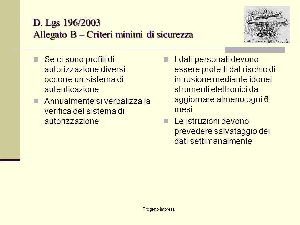 D. Lgs 196/2003 Allegato B – Criteri minimi di sicurezza