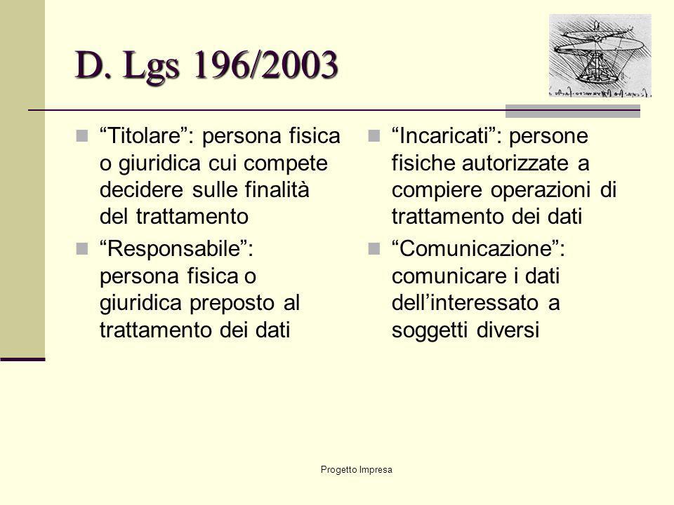 D. Lgs 196/2003 Titolare : persona fisica o giuridica cui compete decidere sulle finalità del trattamento.