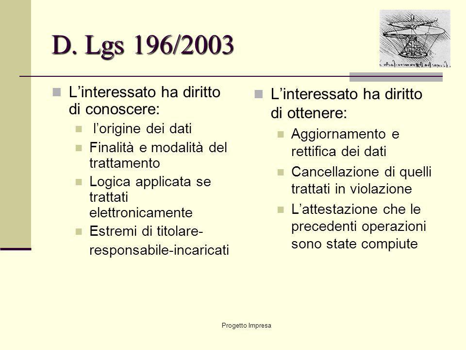 D. Lgs 196/2003 L'interessato ha diritto di conoscere:
