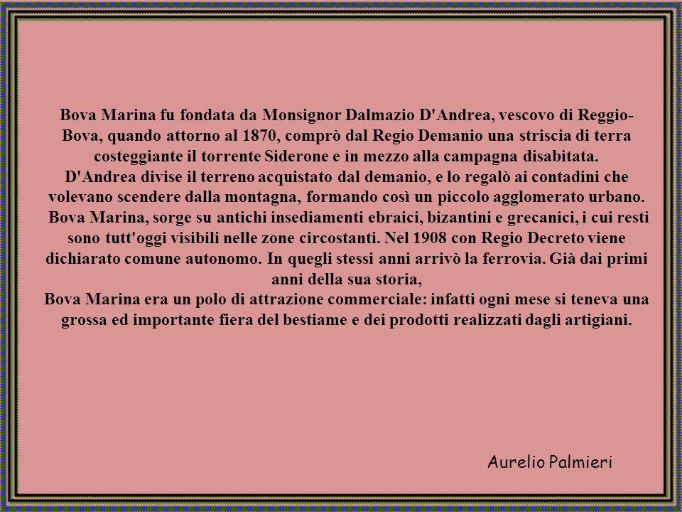 Bova Marina fu fondata da Monsignor Dalmazio D Andrea, vescovo di Reggio-Bova, quando attorno al 1870, comprò dal Regio Demanio una striscia di terra costeggiante il torrente Siderone e in mezzo alla campagna disabitata.