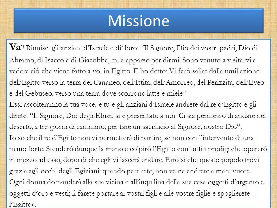 Missione Va'! Riunisci gli anziani d'Israele e di' loro: Il Signore, Dio dei vostri padri, Dio di.
