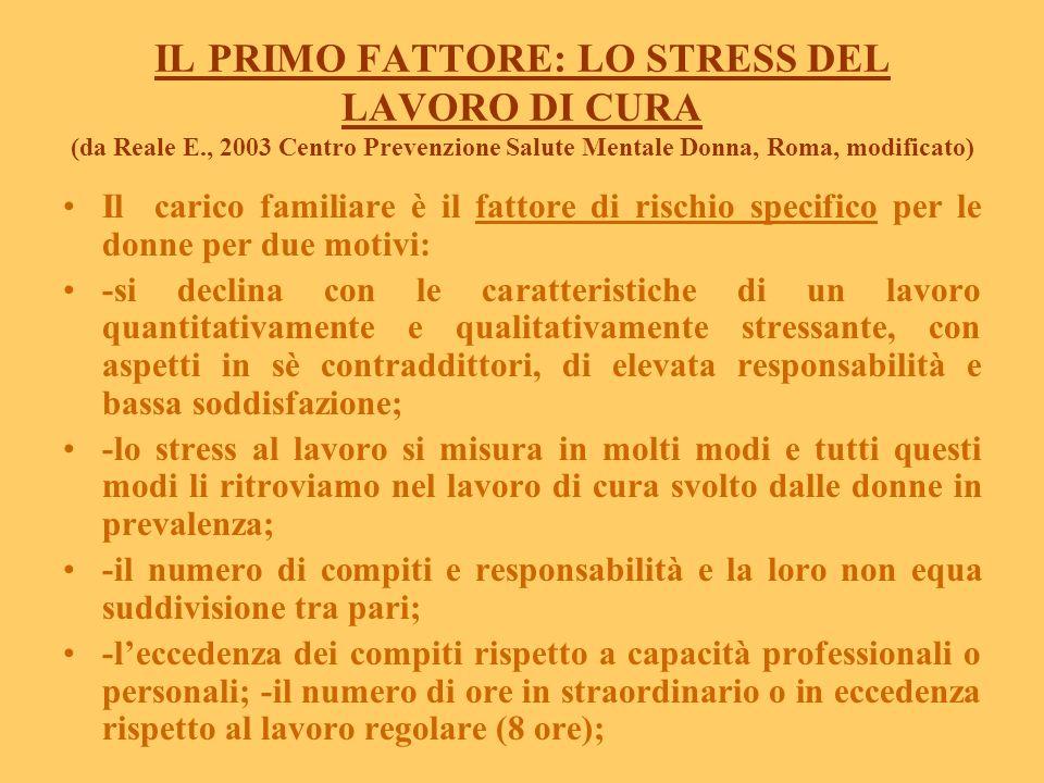 IL PRIMO FATTORE: LO STRESS DEL LAVORO DI CURA (da Reale E