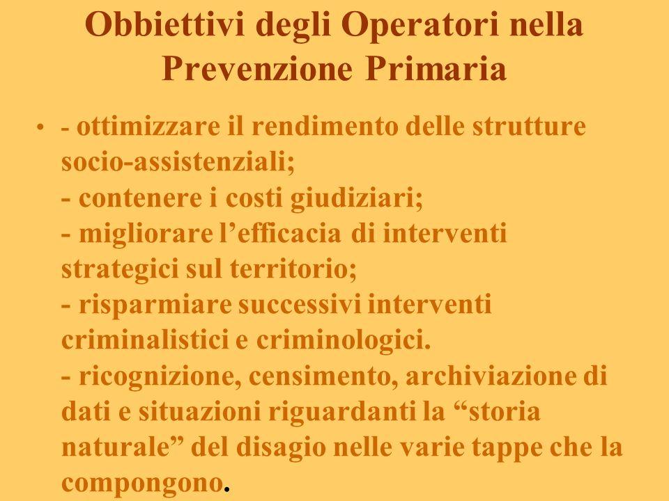 Obbiettivi degli Operatori nella Prevenzione Primaria