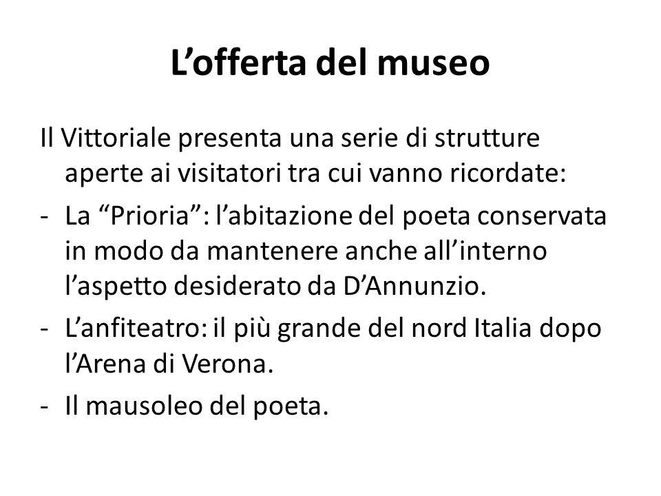 L'offerta del museo Il Vittoriale presenta una serie di strutture aperte ai visitatori tra cui vanno ricordate: