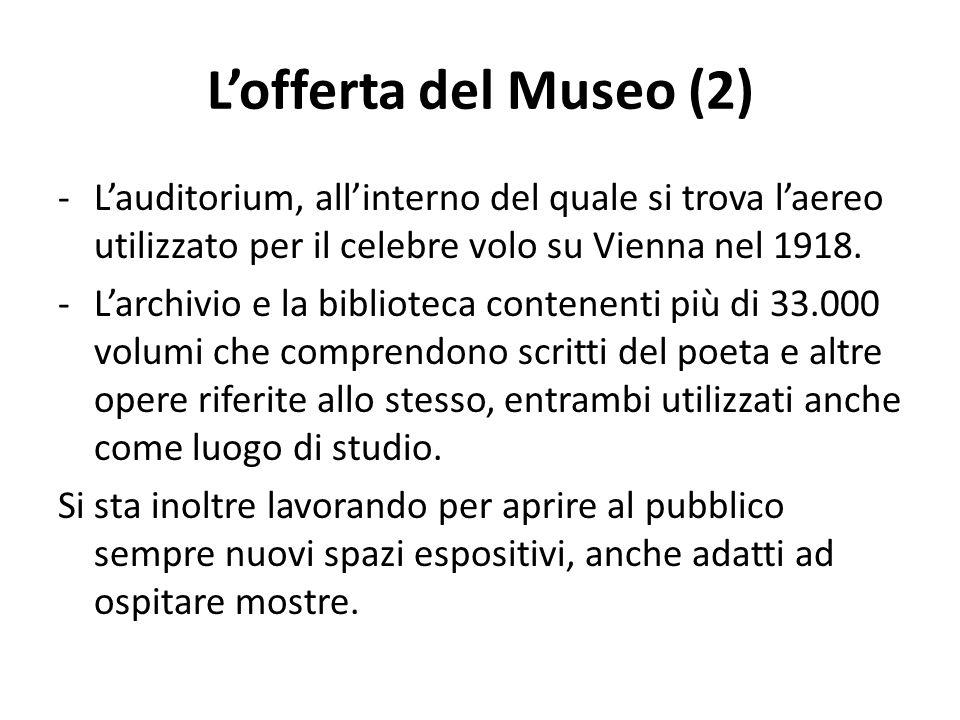 L'offerta del Museo (2) L'auditorium, all'interno del quale si trova l'aereo utilizzato per il celebre volo su Vienna nel 1918.