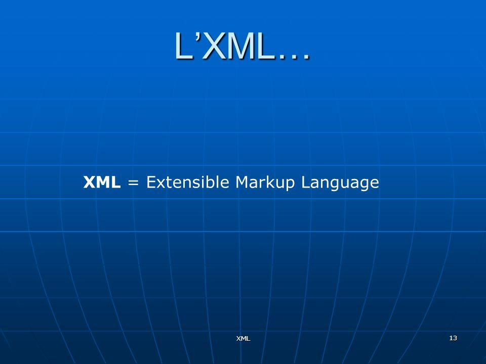 XML = Extensible Markup Language