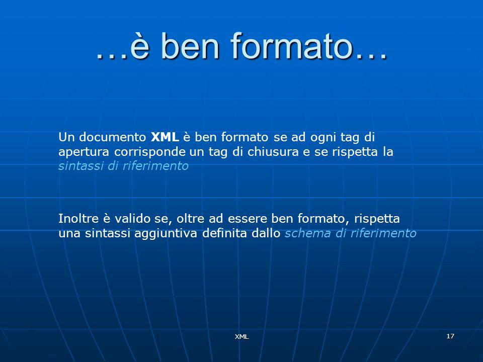 …è ben formato… Un documento XML è ben formato se ad ogni tag di apertura corrisponde un tag di chiusura e se rispetta la sintassi di riferimento.