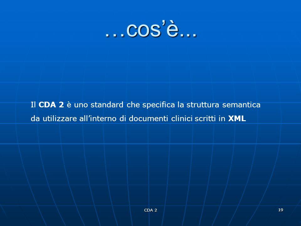 …cos'è... Il CDA 2 è uno standard che specifica la struttura semantica da utilizzare all'interno di documenti clinici scritti in XML.
