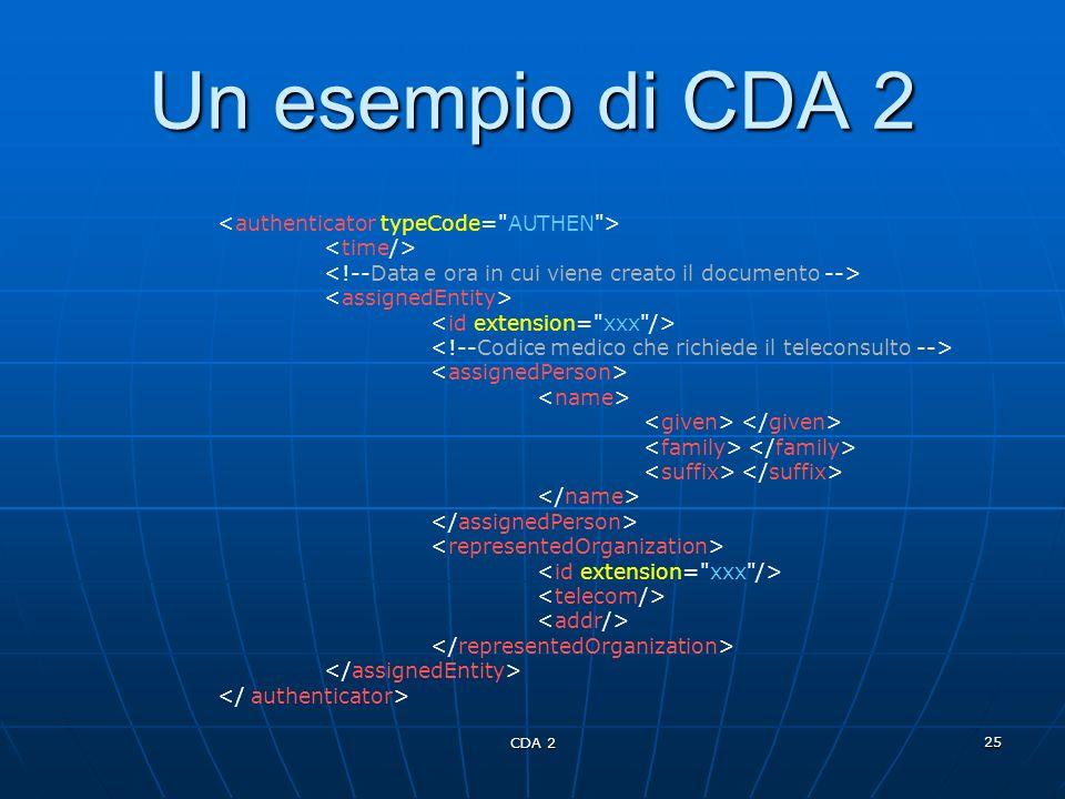 Un esempio di CDA 2 <authenticator typeCode= AUTHEN >