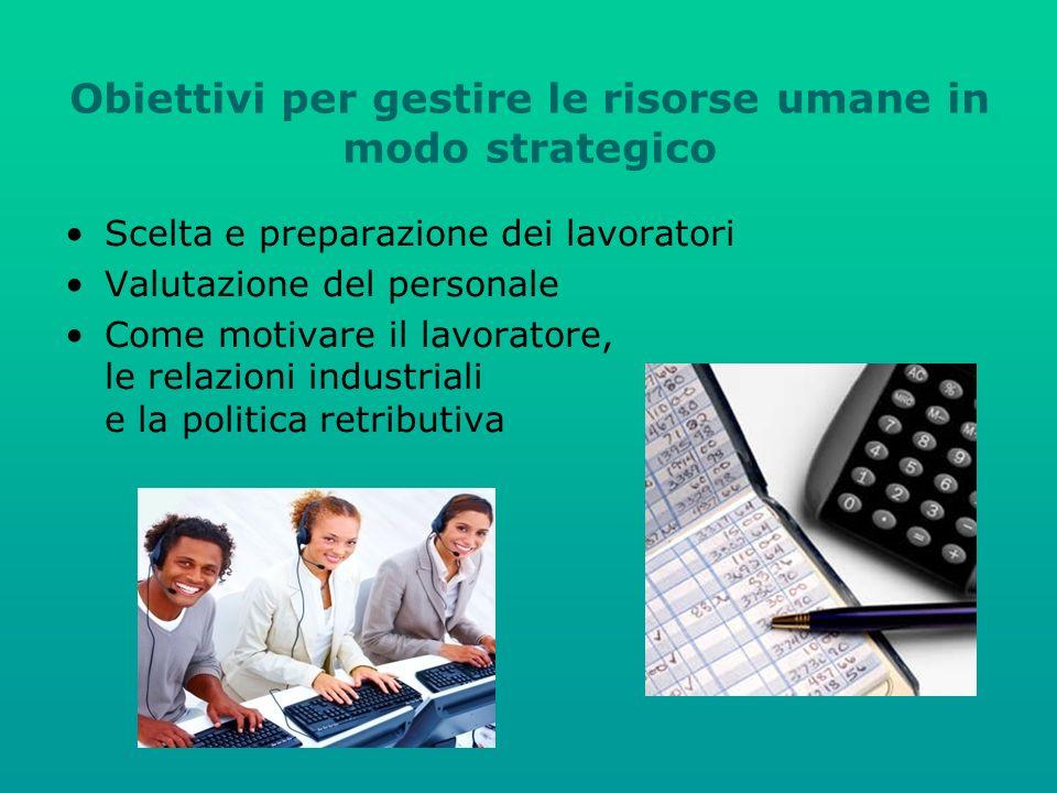 Obiettivi per gestire le risorse umane in modo strategico