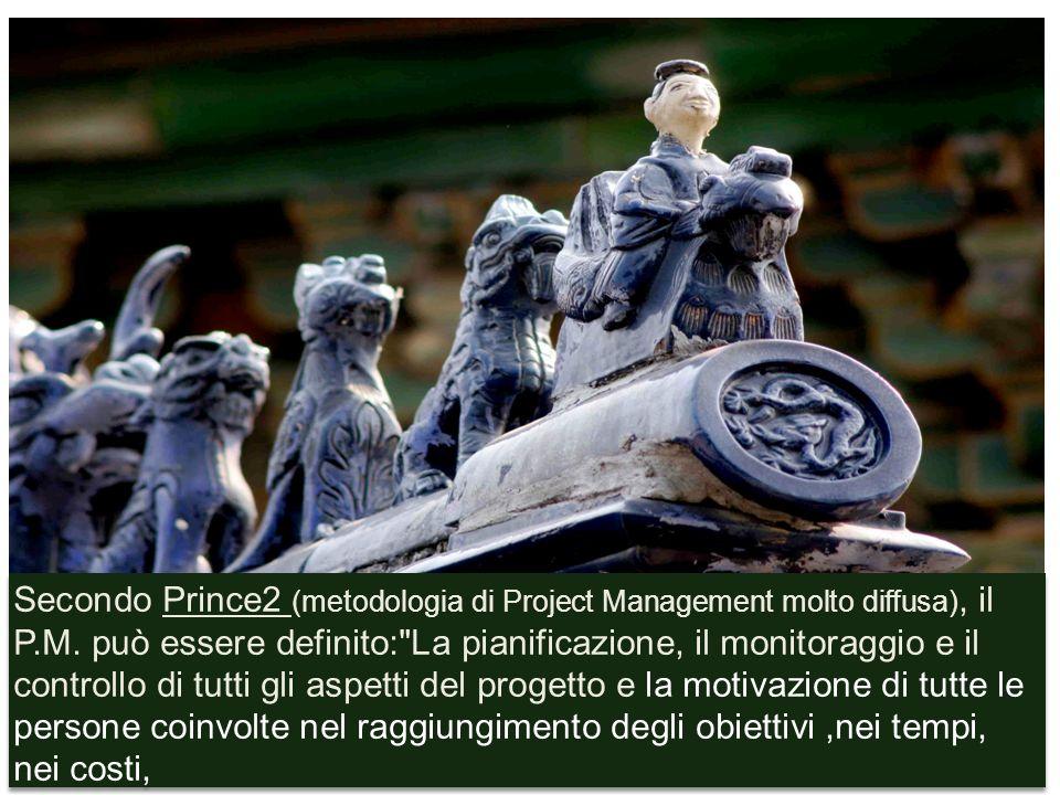 Secondo Prince2 (metodologia di Project Management molto diffusa), il P.M. può essere definito: La pianificazione, il monitoraggio e il controllo di tutti gli aspetti del progetto e la motivazione di tutte le persone coinvolte nel raggiungimento degli obiettivi ,nei tempi, nei costi,
