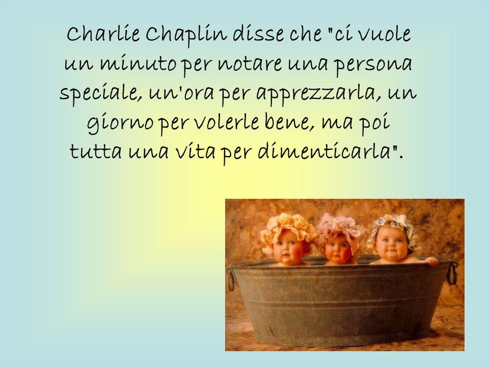 Charlie Chaplin disse che ci vuole un minuto per notare una persona speciale, un ora per apprezzarla, un giorno per volerle bene, ma poi tutta una vita per dimenticarla .