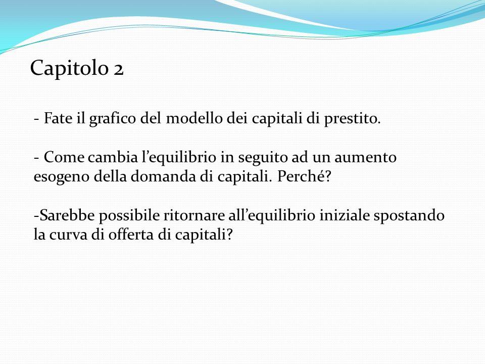 Capitolo 2 Fate il grafico del modello dei capitali di prestito.