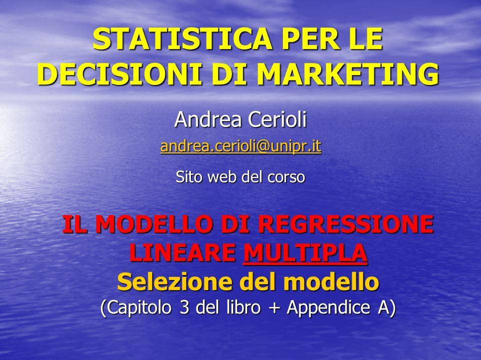 STATISTICA PER LE DECISIONI DI MARKETING