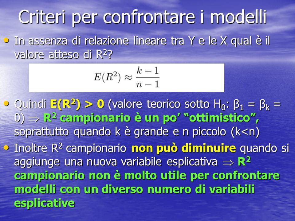 Criteri per confrontare i modelli