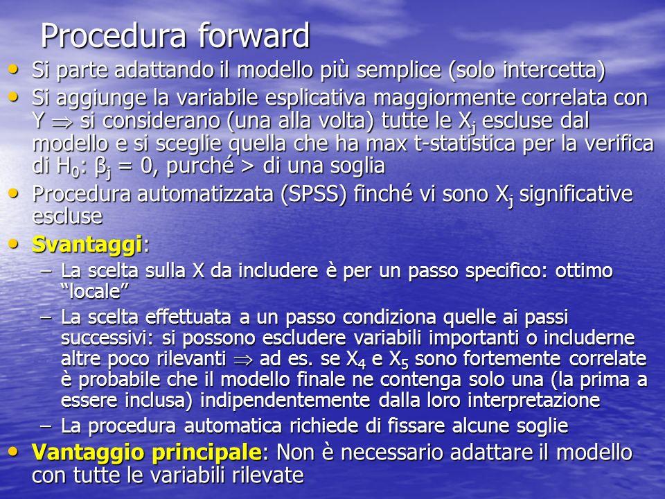 Procedura forward Si parte adattando il modello più semplice (solo intercetta)