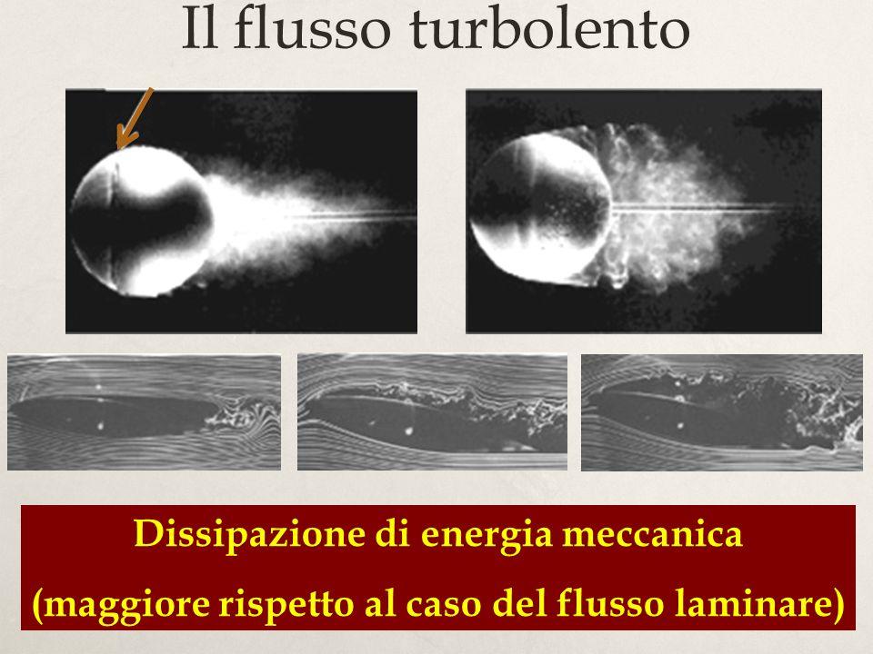 Il flusso turbolento Dissipazione di energia meccanica