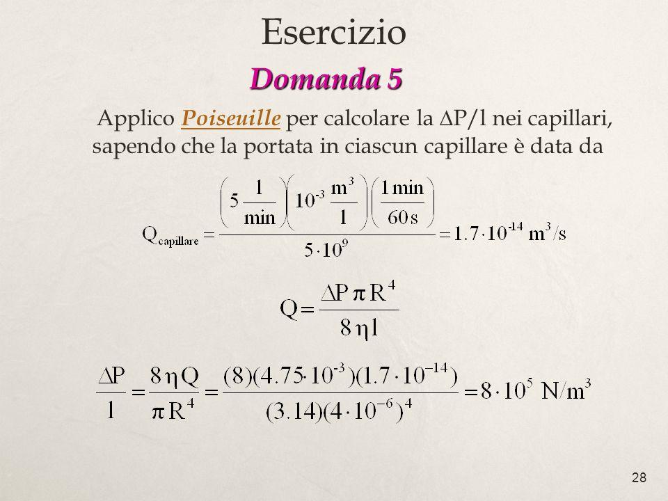 Esercizio Domanda 5 Applico Poiseuille per calcolare la DP/l nei capillari, sapendo che la portata in ciascun capillare è data da.