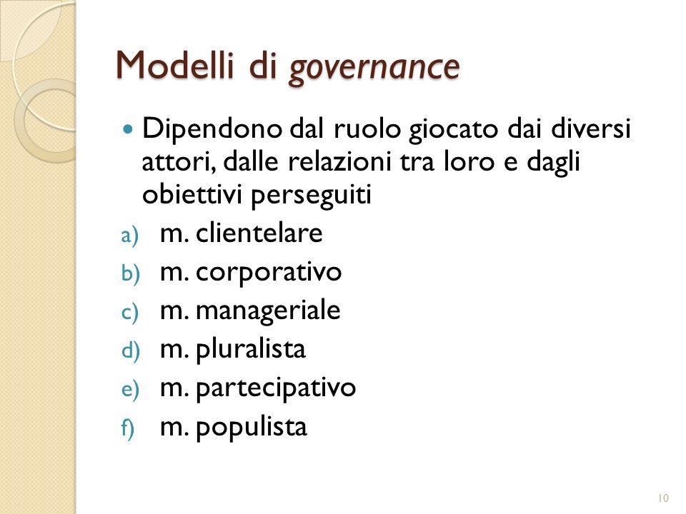 Modelli di governance Dipendono dal ruolo giocato dai diversi attori, dalle relazioni tra loro e dagli obiettivi perseguiti.