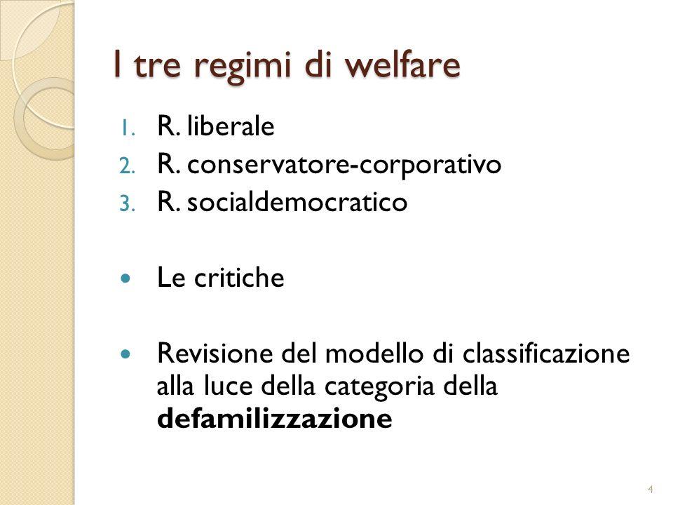 I tre regimi di welfare R. liberale R. conservatore-corporativo