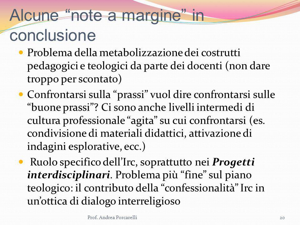 Alcune note a margine in conclusione