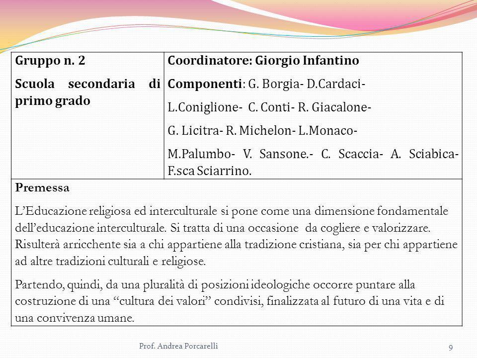 Scuola secondaria di primo grado Coordinatore: Giorgio Infantino