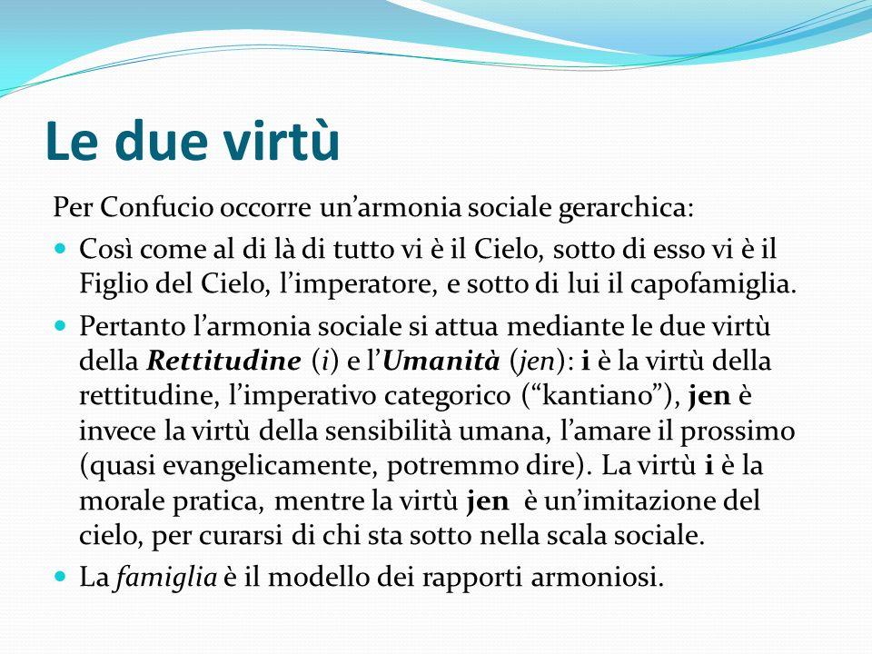 Le due virtù Per Confucio occorre un'armonia sociale gerarchica: