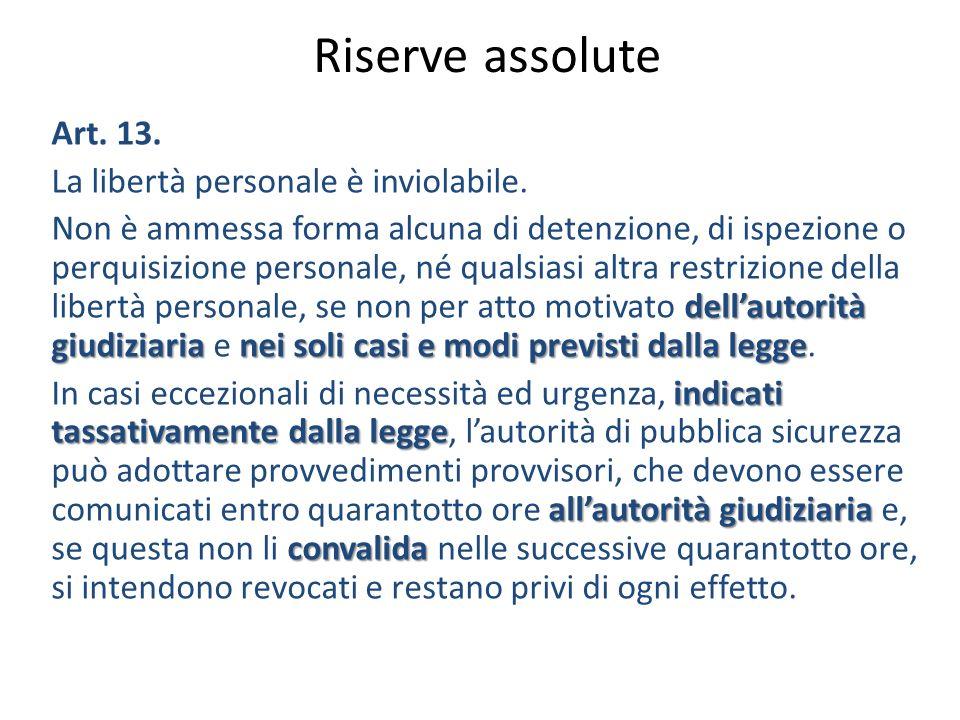 Riserve assolute Art. 13. La libertà personale è inviolabile.