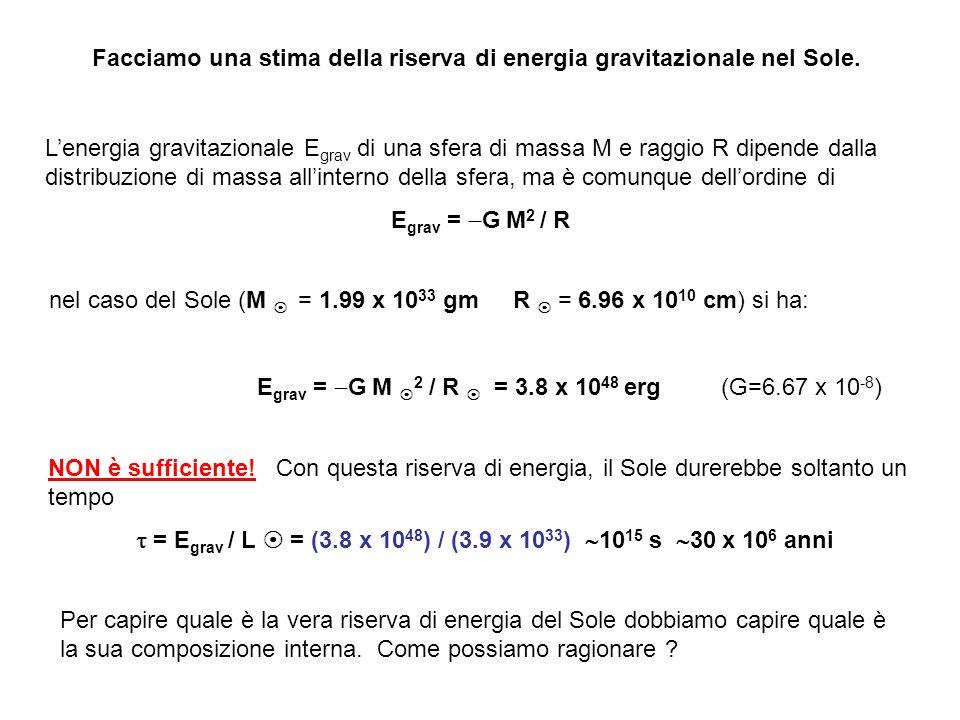 Facciamo una stima della riserva di energia gravitazionale nel Sole.
