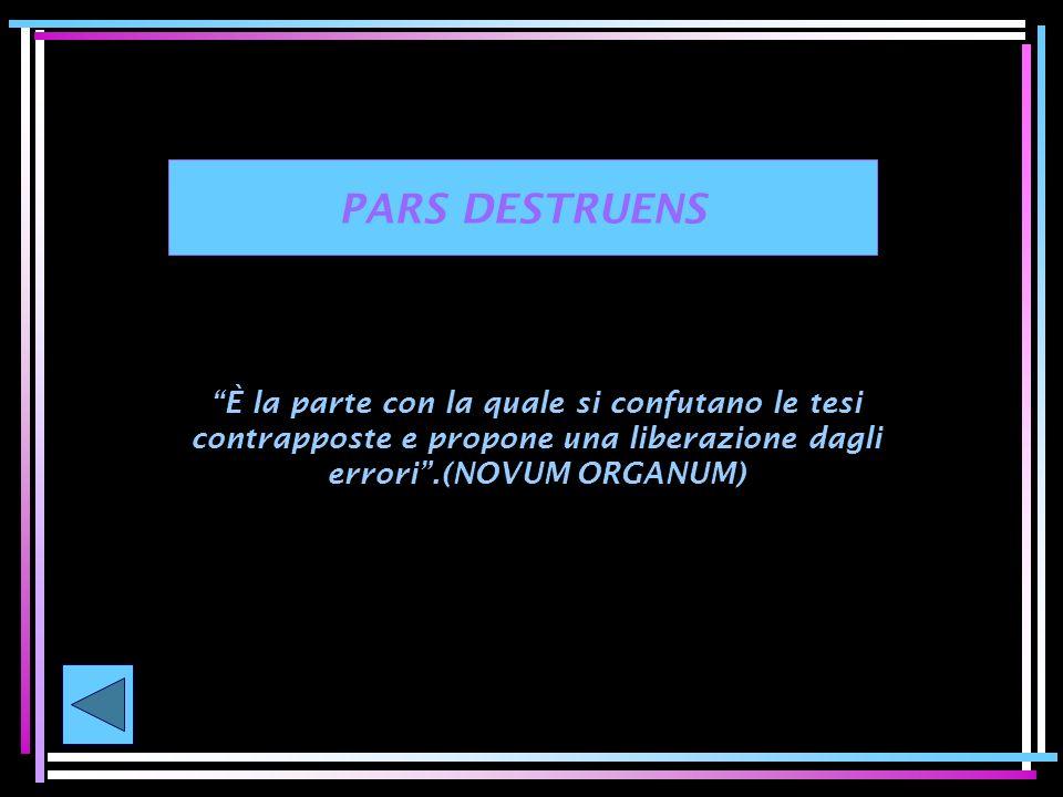 PARS DESTRUENS È la parte con la quale si confutano le tesi contrapposte e propone una liberazione dagli errori .(NOVUM ORGANUM)