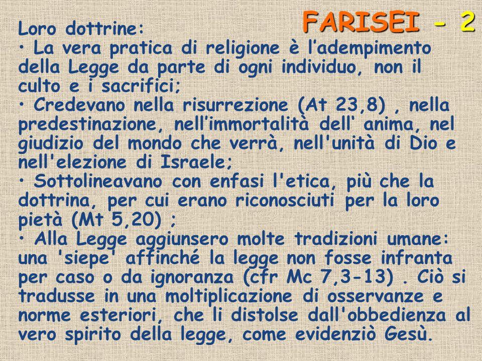 FARISEI - 2 Loro dottrine: