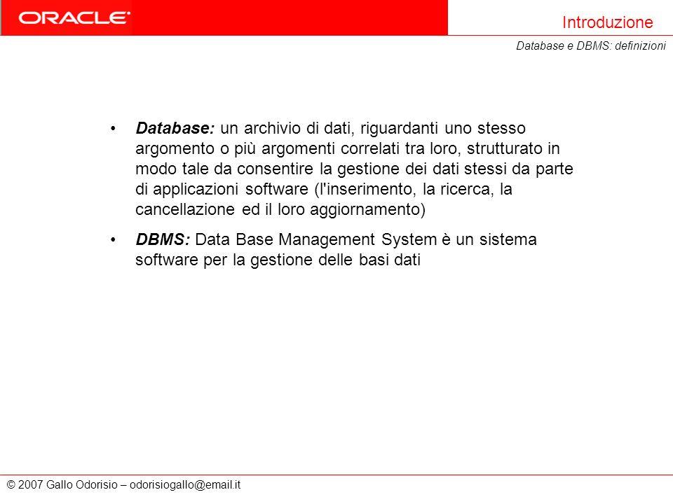 Introduzione Database e DBMS: definizioni.