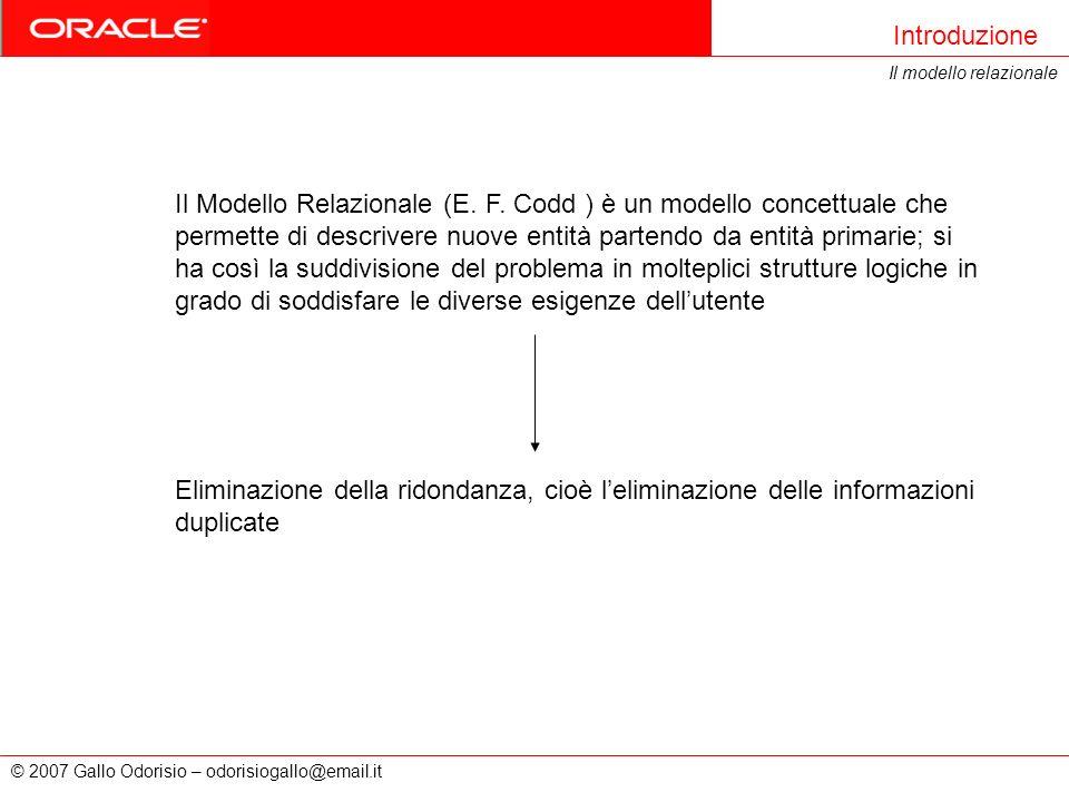 Introduzione Il modello relazionale.