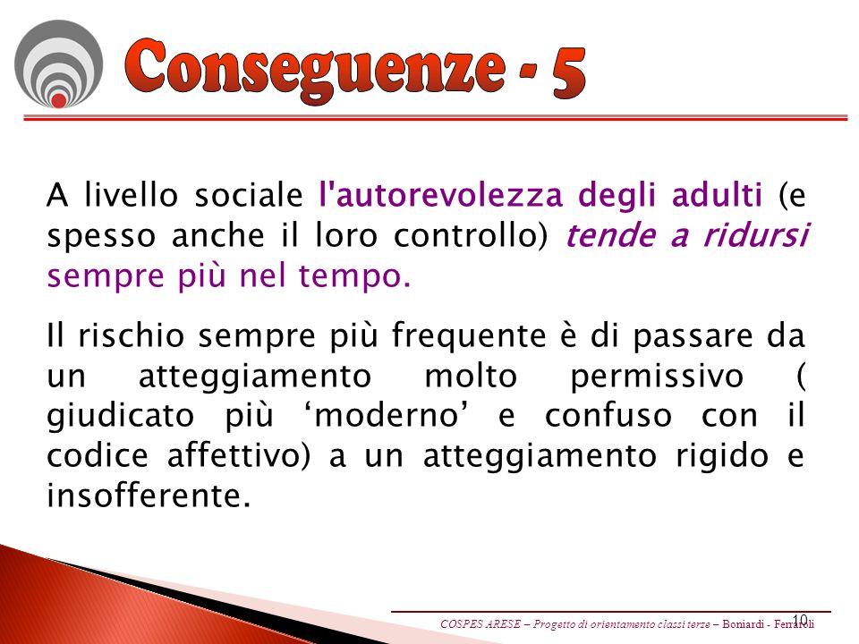 Conseguenze - 5 A livello sociale l autorevolezza degli adulti (e spesso anche il loro controllo) tende a ridursi sempre più nel tempo.