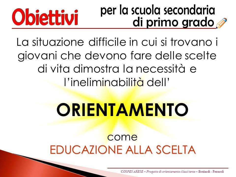 Obiettivi ORIENTAMENTO EDUCAZIONE ALLA SCELTA
