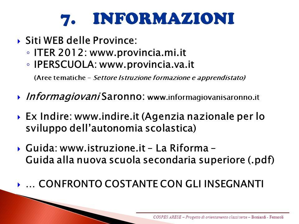 7. INFORMAZIONI Siti WEB delle Province: