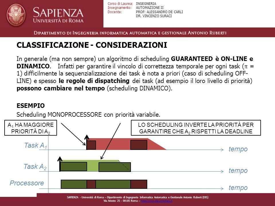 CLASSIFICAZIONE - CONSIDERAZIONI