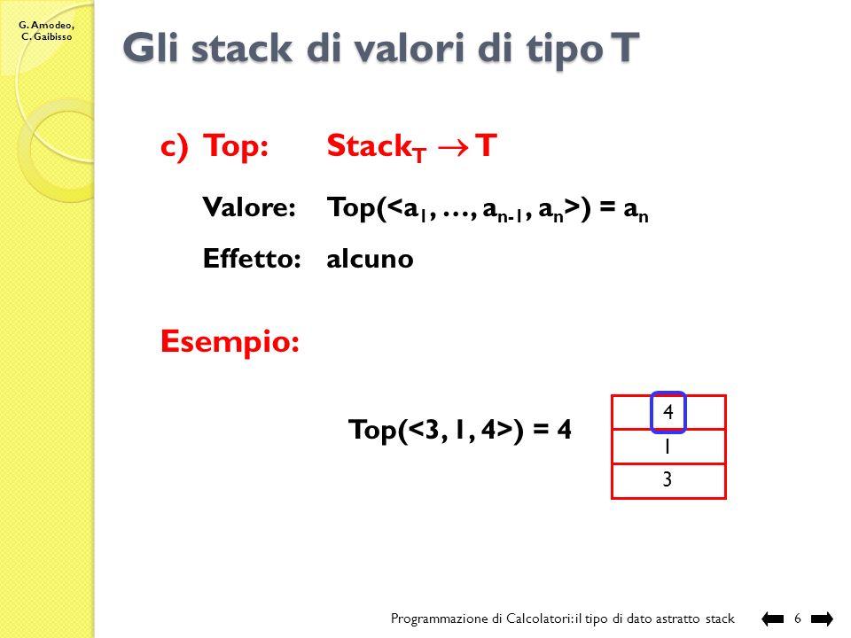 Gli stack di valori di tipo T